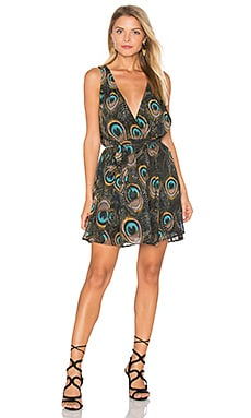 Corinne Crossover Dress in Feather Fans