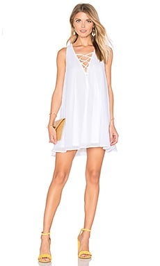 Rancho Mirage Lace Up Dress in White Chiffon