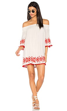 x REVOLVE Presley Tunic Dress in White & Red Embroidery
