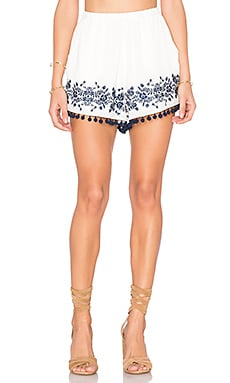 Laney Pom Pom Shorts in Navy Embroidery