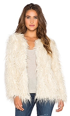 Show Me Your Mumu Bohemia Faux Fur Jacket in Cream Fur