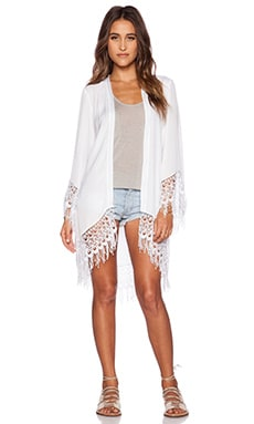 Show Me Your Mumu Metzler Kimono in White Silky Satin