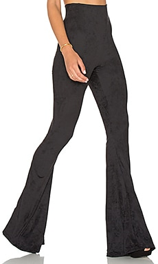 Bam Bam Bell Pants in Black Stretch Suede