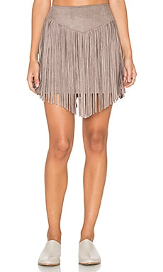 Show Me Your Mumu Rancho Skirtd in Taupe Faux Suede