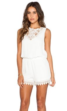 Show Me Your Mumu Lace Face Romper in Ivory Crisp