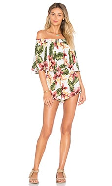 Show Me Your Mumu Rosarita Romper in Aloha Blooms Cloud