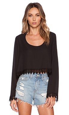 Show Me Your Mumu Chappell Top in Black Crisp
