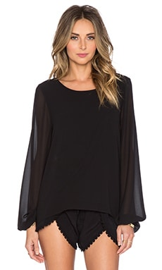 Show Me Your Mumu Jade Blouse in Black Chiffon