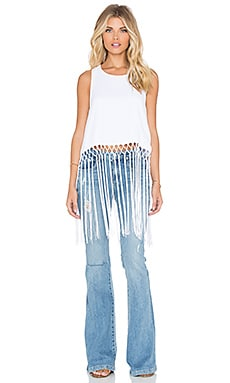 Show Me Your Mumu Flirty Fringe Top in White Crisp