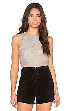 Show Me Your Mumu Elizabeth Crop Top in Platinum Eyelash Lace