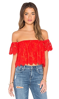 Show Me Your Mumu Ella Top in Spring Fling Lace Blood Orange