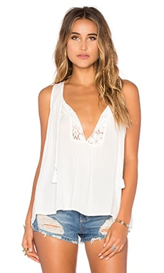Tenny Tassel Top in White Cloud