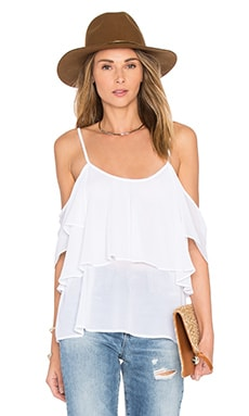 Show Me Your Mumu Romance Ruffle Top in White Chiffon
