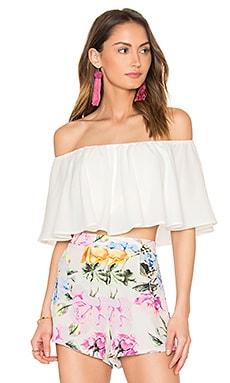 Heidi Ruffle Crop Top in White Laguna Crinkle