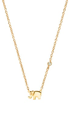 Shy by Sydney Evan Elephant Charm Necklace with Diamond Bezel in Yellow Gold