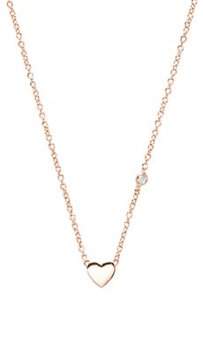 Shy by Sydney Evan Heart Necklace with Diamond Bezel in Rose Gold