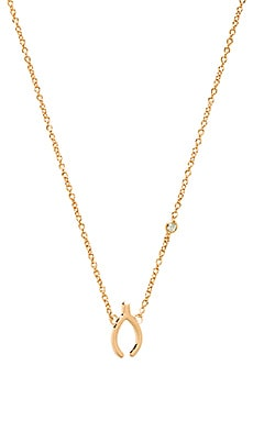 Shy by Sydney Evan Wishbone Necklace with Diamond Bezel in Gold