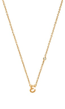 Shy by Sydney Evan E Necklace with Diamond Bezel in Yellow Gold