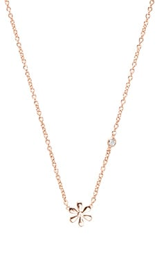 Shy by Sydney Evan Daisy Necklace with Diamond Bezel in Rose Gold