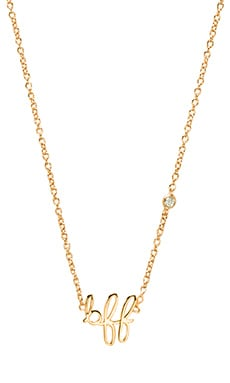 Shy by Sydney Evan BFF Necklace with Diamond Bezel in Yellow Gold