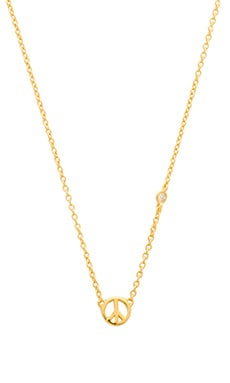Shy by Sydney Evan Peace Sign Necklace in Yellow Gold Plating
