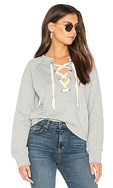 Front Lace Sweatshirt in Heather Grey