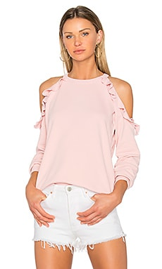 Ruffle Shoulder Sweatshirt in Rose