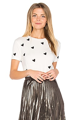 Heart Embroidered Tee in White