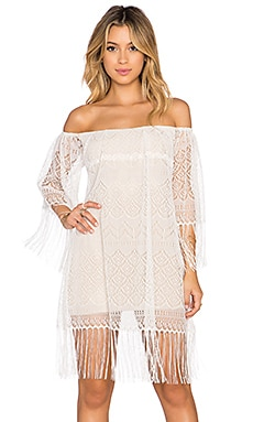 sky Imarisol Fringe Dress in Ivory