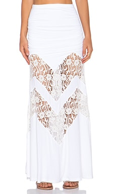 sky Kamazu Maxi Skirt in White