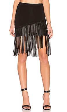 sky Ewelina Fringe Skirt in Black