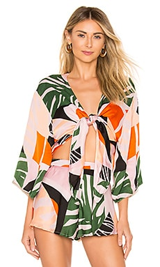 Eddie Silk Satin Kimono Top SKYE & staghorn $46 (FINAL SALE)