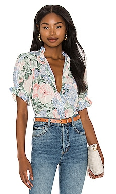 X REVOLVE The Bistro Blouse Selkie $152 Sustainable