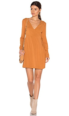 We Were Young Wrap Dress in Rust