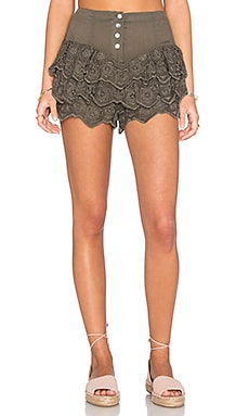 Serenade Lace Ra Ra Short in Khaki