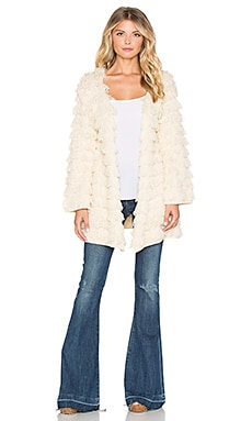 Somedays Lovin Smokey Shag Cardigan Coat in Ecru