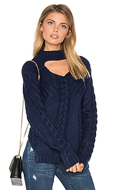 Texan Cable Knit Sweater in Navy