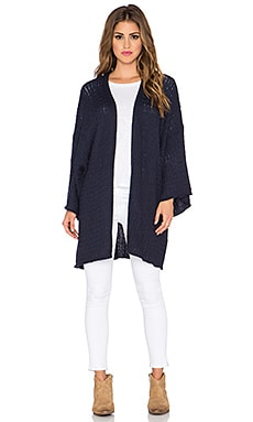 Somedays Lovin Ephyra Cable Knit Kimono in Blue