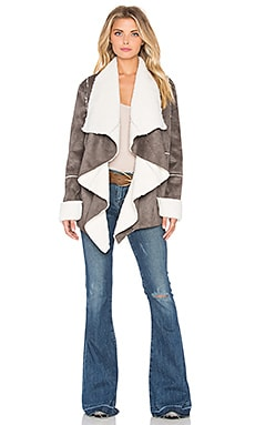 Somedays Lovin On and On Faux Shearling Jacket in Silver