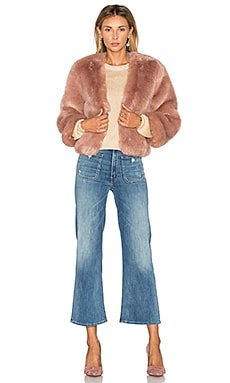 Giver Faux Fur Jacket in Eggplant