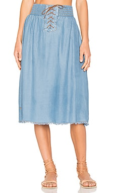Cali Chambray Skirt in Blue