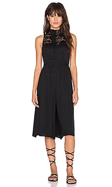 Somedays Lovin Isabel Lace Midi Playsuit in Black