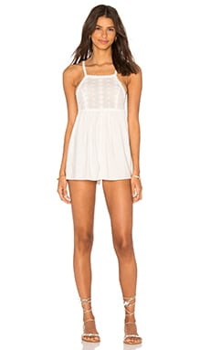 Tia Embroidered Romper in Off White