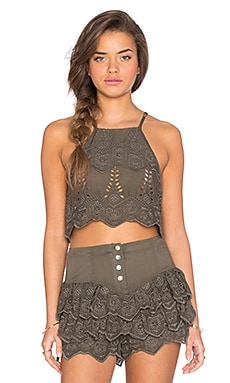 Serenade Lace Crop Top in Khaki