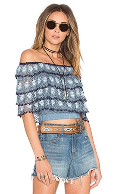 Somedays Lovin Romance Crochet Top in Blue