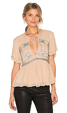 Chloe Sequin Top in Stone