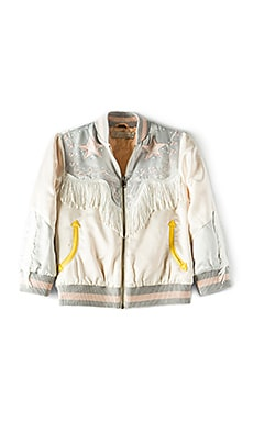 Kids Dot Embroidered Bomber Jacket