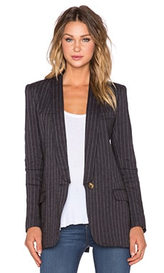 Smythe Long Shawl Boyfriend Blazer in Black Fade Stripe