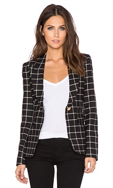 Smythe Peaked Lapel Blazer in Black Window Pane