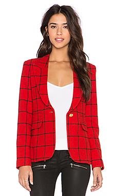 Smythe Peaked Lapel Blazer in Red Grid & Black Leather